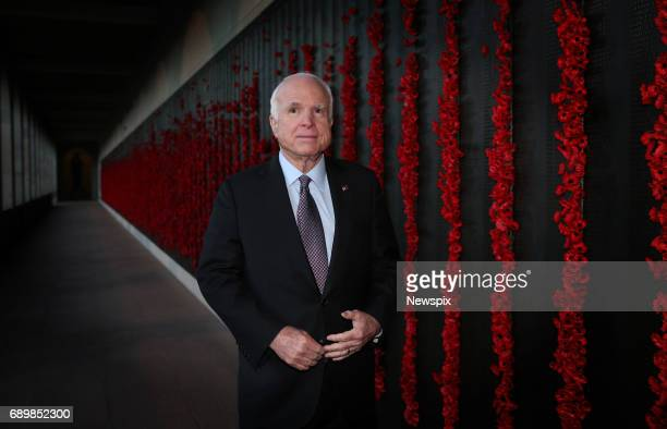 CANBERRA ACT US Senator John McCain looks at the Roll of Honour after the Last Post Ceremony at the Australian War Memorial in Canberra Australian...