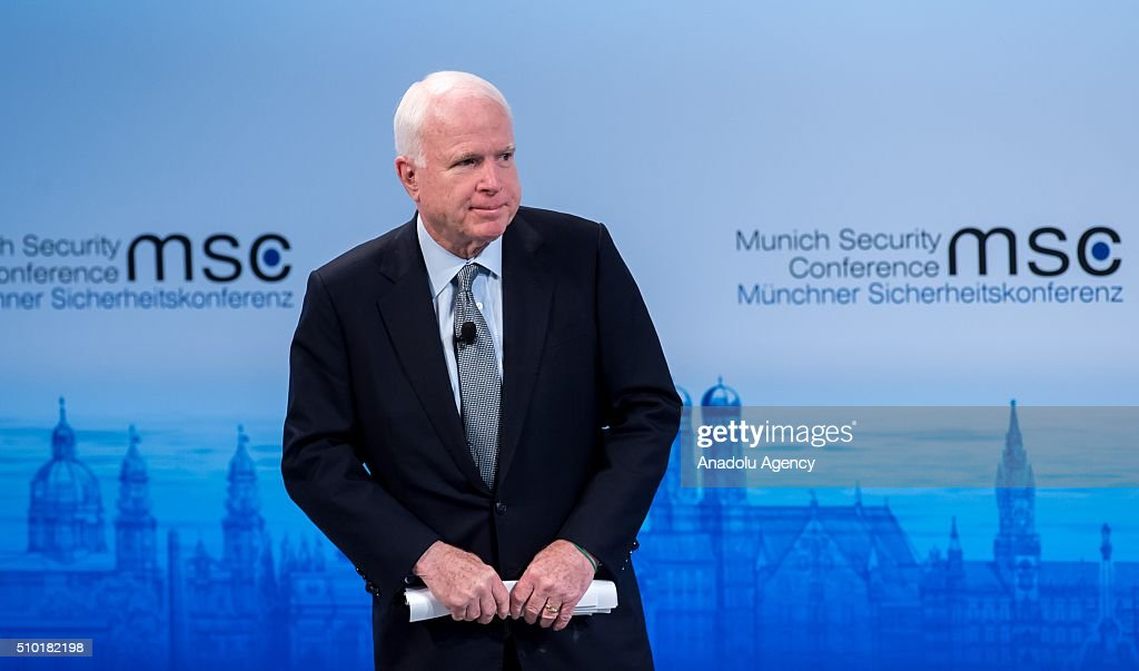 U.S. Senator John McCain speaks at the 2016 Munich Security Conference at the Bayerischer Hof hotel on February 14, 2016 in Munich, Germany. The annual event brings together government representatives and security experts from across the globe and this year the conflict in Syria will be the main issue under discussion.