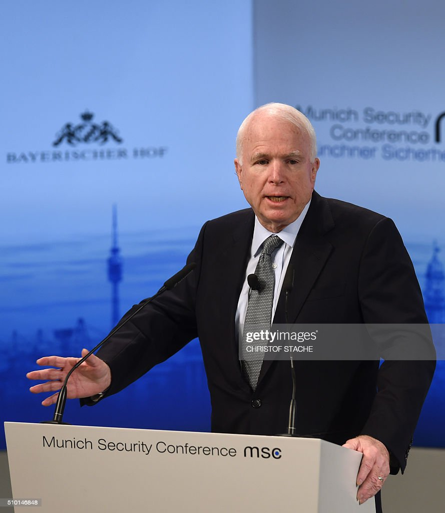 US Senator John McCain speaks during a panel discussion on the third day of the 52nd Munich Security Conference (MSC) in Munich, southern Germany, on February 14, 2016. / AFP / Christof STACHE