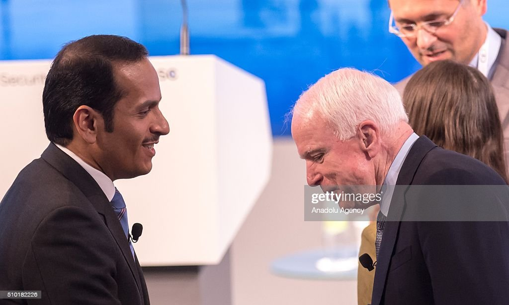 U.S. Senator John McCain (R) speaks to Qatar's Foreign Minister Sheikh Mohammed bin Abdulrahman bin Jassim Al-Thani at the 2016 Munich Security Conference at the Bayerischer Hof hotel on February 14, 2016 in Munich, Germany. The annual event brings together government representatives and security experts from across the globe and this year the conflict in Syria will be the main issue under discussion.