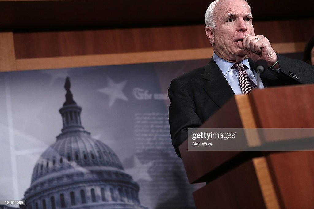 U.S. Senator John McCain (R-AZ) speaks to the press during a news conference on the terror attack that killed four Americans in Benghazi February 14, 2013 on Capitol Hill in Washington, DC. The senator questioned why the Obama Administration did not seek enough help from the Libya government during the attack.