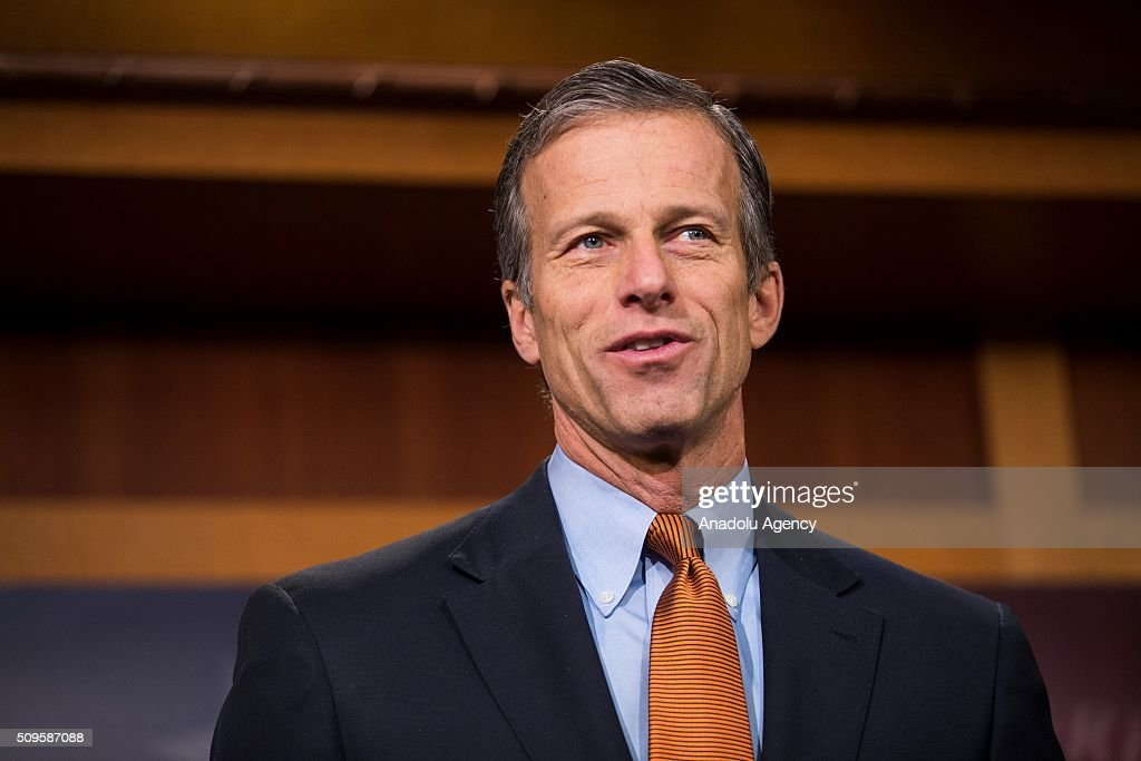 Senator John Thune speaks during a press conference on the Internet Tax Ban and Customs Report in Washington, USA on February 11, 2016.
