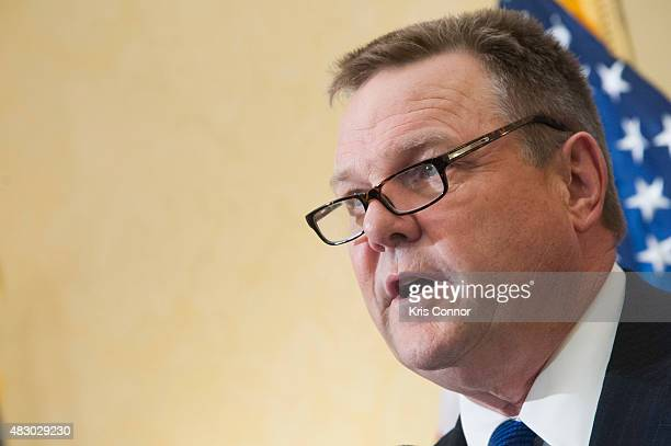 Senator Jon Tester speaks during a news conference to discuss opposition to HR 1599 on August 5 2015 in Washington DC HR1599 known as the 'Deny...