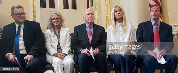 Senator Jon TesterSen Patrick Leahy and Sen Richard Blumenthal with actresses Blythe Danner and her daughter Gwyneth Paltrow speak during a news...