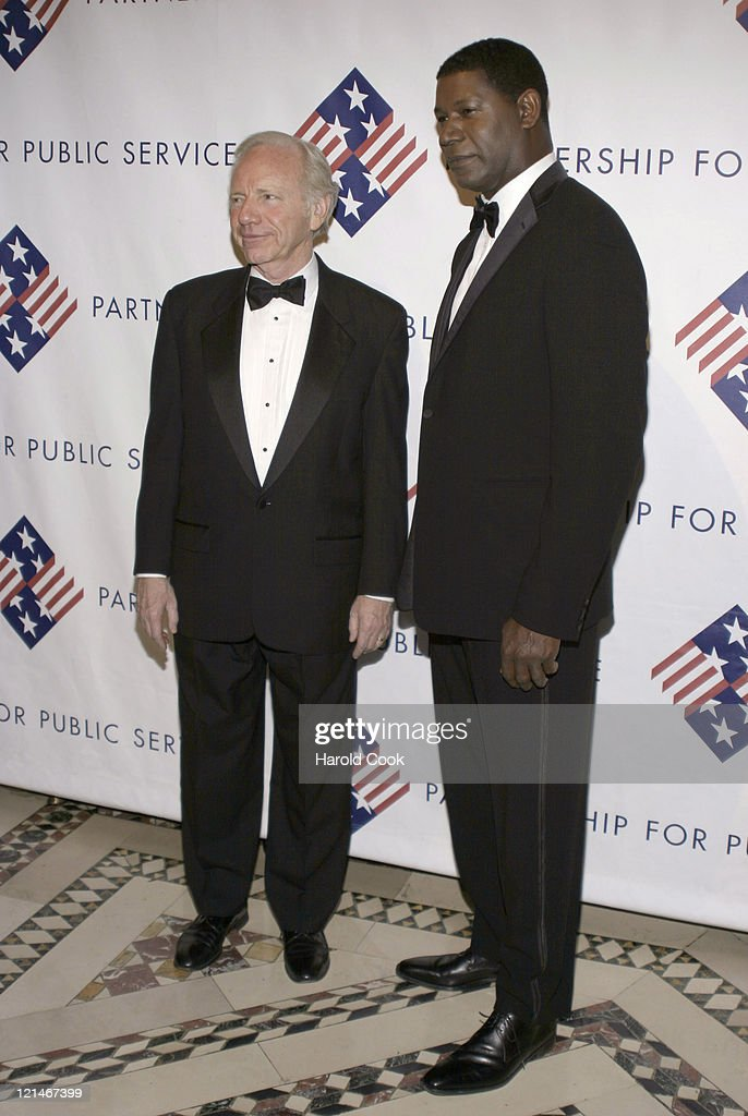 Senator Joseph Lieberman and Dennis Haysbert during The Partership for Public Service Gala December 11 2006 at Cipriani in New York City New York...