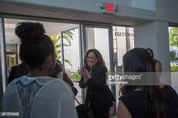 S Senator Kamala D Harris reacts to spontaneous applause as she leaves a town hall at Holman United Methodist Church on April 21 2017 in Los Angeles...