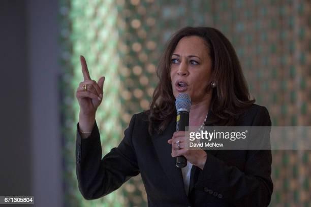 S Senator Kamala D Harris speaks before a town hall at Holman United Methodist Church on April 21 2017 in Los Angeles California A diverse audience...