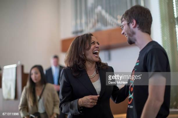 S Senator Kamala D Harris talks to community members during a town hall at Holman United Methodist Church on April 21 2017 in Los Angeles California...