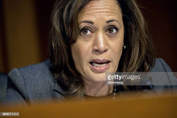 Senator Kamala Harris a Democrat from California questions witnesses during a Senate Intelligence Committee hearing on social media influence in the...