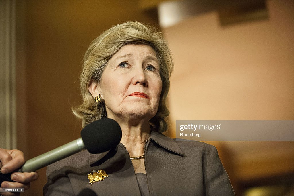 Senator <a gi-track='captionPersonalityLinkClicked' href=/galleries/search?phrase=Kay+Bailey+Hutchison&family=editorial&specificpeople=218057 ng-click='$event.stopPropagation()'>Kay Bailey Hutchison</a>, a Republican from Texas, speaks after a meeting of Republican senators at the U.S. Capitol in Washington, D.C., U.S., on Friday, Dec. 31, 2012. Senate Minority Leader Mitch McConnell, Republican of Texas, called the meeting to explain a fiscal cliff deal with the White House that the Senate is expected to vote on later tonight. Photographer: Jay Mallin/Bloomberg via Getty Images