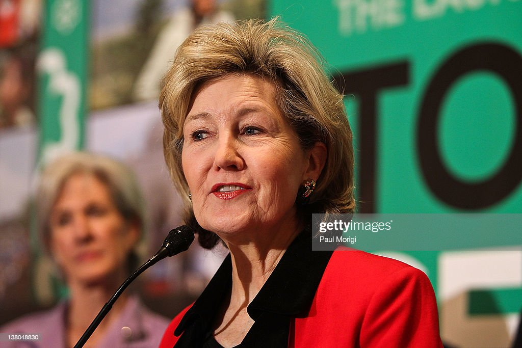 U.S. Senator <a gi-track='captionPersonalityLinkClicked' href=/galleries/search?phrase=Kay+Bailey+Hutchison&family=editorial&specificpeople=218057 ng-click='$event.stopPropagation()'>Kay Bailey Hutchison</a> (R-TX) shares remarks at Girl Scouts At 100: The Launch of ToGetHerThere at Capitol Hill Cannon House Office Bldg, Caucus Room on February 1, 2012 in Washington, DC.