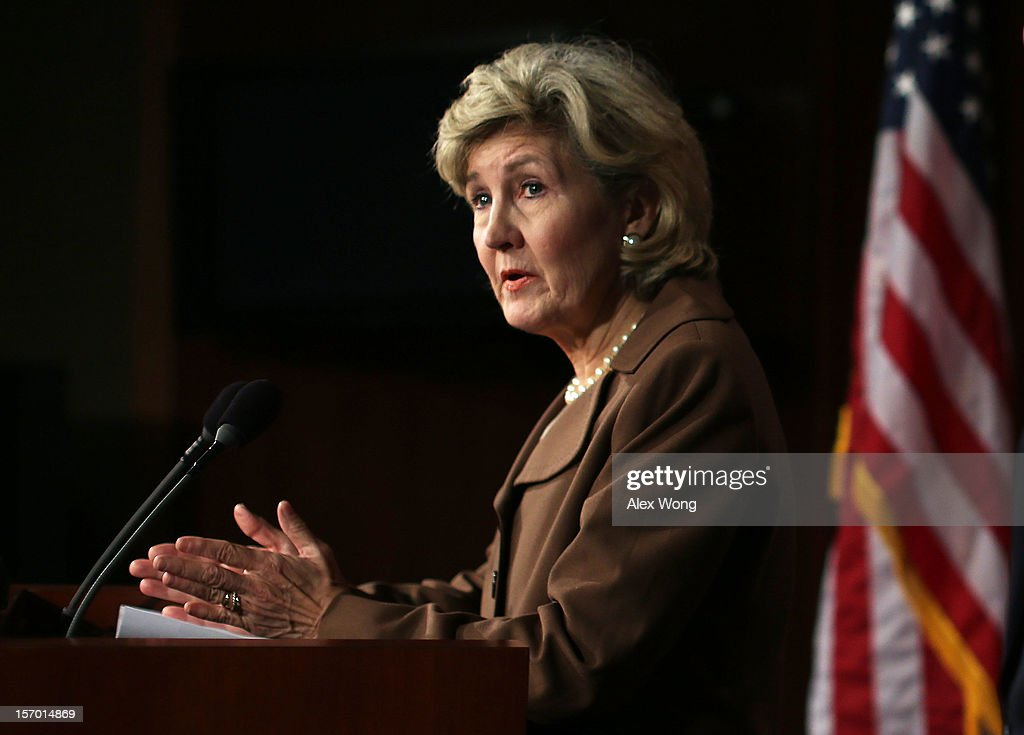 Senator <a gi-track='captionPersonalityLinkClicked' href=/galleries/search?phrase=Kay+Bailey+Hutchison&family=editorial&specificpeople=218057 ng-click='$event.stopPropagation()'>Kay Bailey Hutchison</a> (R-TX) speaks during a news conference November 27, 2012 on Capitol Hill in Washington, DC. Senator Hutchison held a news conference to discuss immigration reform.