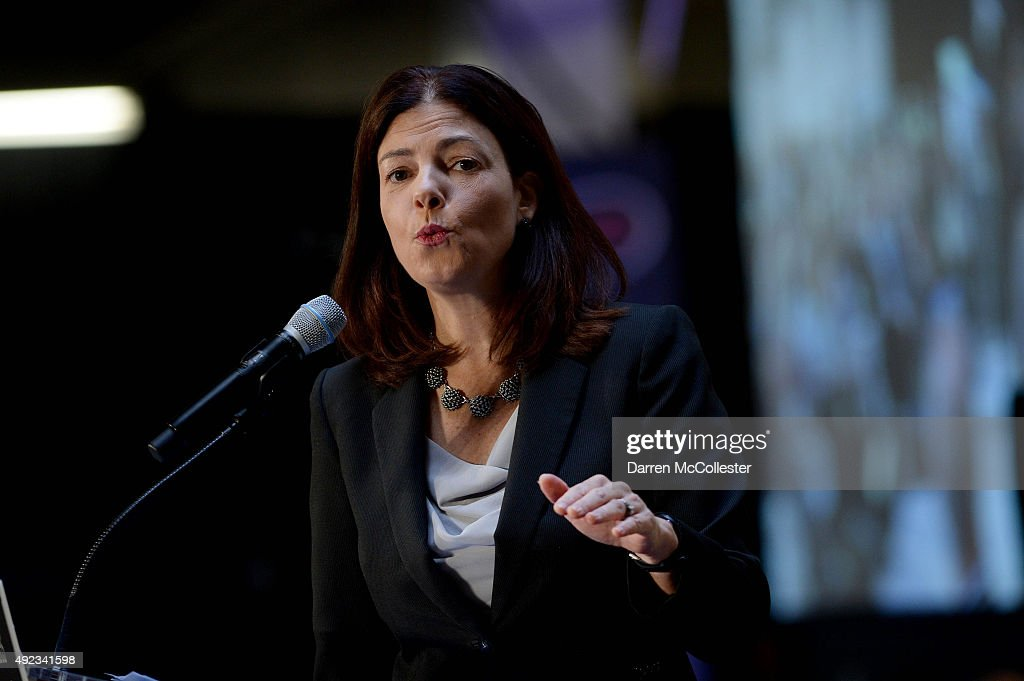 U.S. Senator <a gi-track='captionPersonalityLinkClicked' href=/galleries/search?phrase=Kelly+Ayotte&family=editorial&specificpeople=6986995 ng-click='$event.stopPropagation()'>Kelly Ayotte</a> (R-NH) speaks at the No Labels Problem Solver convention October 12, 2015 in Manchester, New Hampshire. Eight presidential candidates addressed the bipartisan event which included many undecided New Hampshire voters.