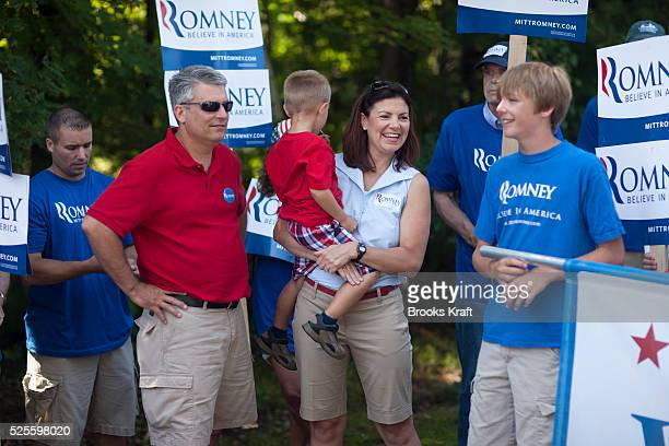 US Senator Kelly Ayotte with supporters of Republican presidential candidate Mitt Romney in the Wolfeboro Fourth of July Parade Ayotte was joined by...