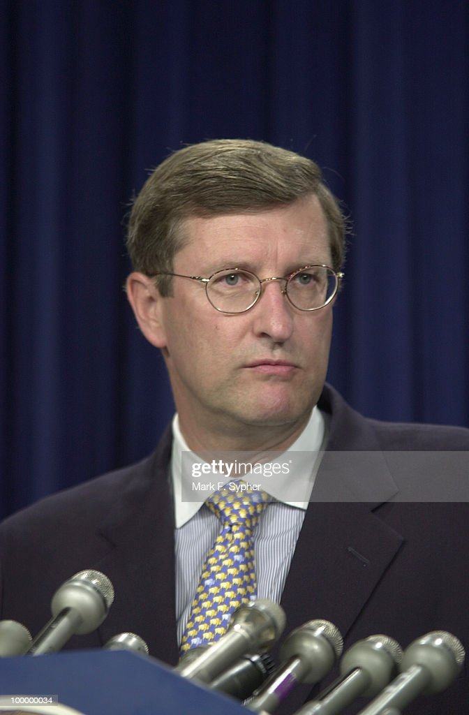 Senator Kent Conrad, D-N.D., speaks to reporters at a budget surplus press conference.