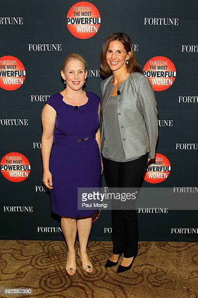 Senator Kirsten Gillibrand and Assistant Managing Editor at Fortune Magazine Leigh Gallagher attend Fortune's Most Powerful Women Summit Day 1 at the...