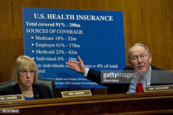 Senator Lamar Alexander a Republican of Tennessee and chairman of the Senate HELP Committee right speaks as ranking member Senator Patty Murray a...
