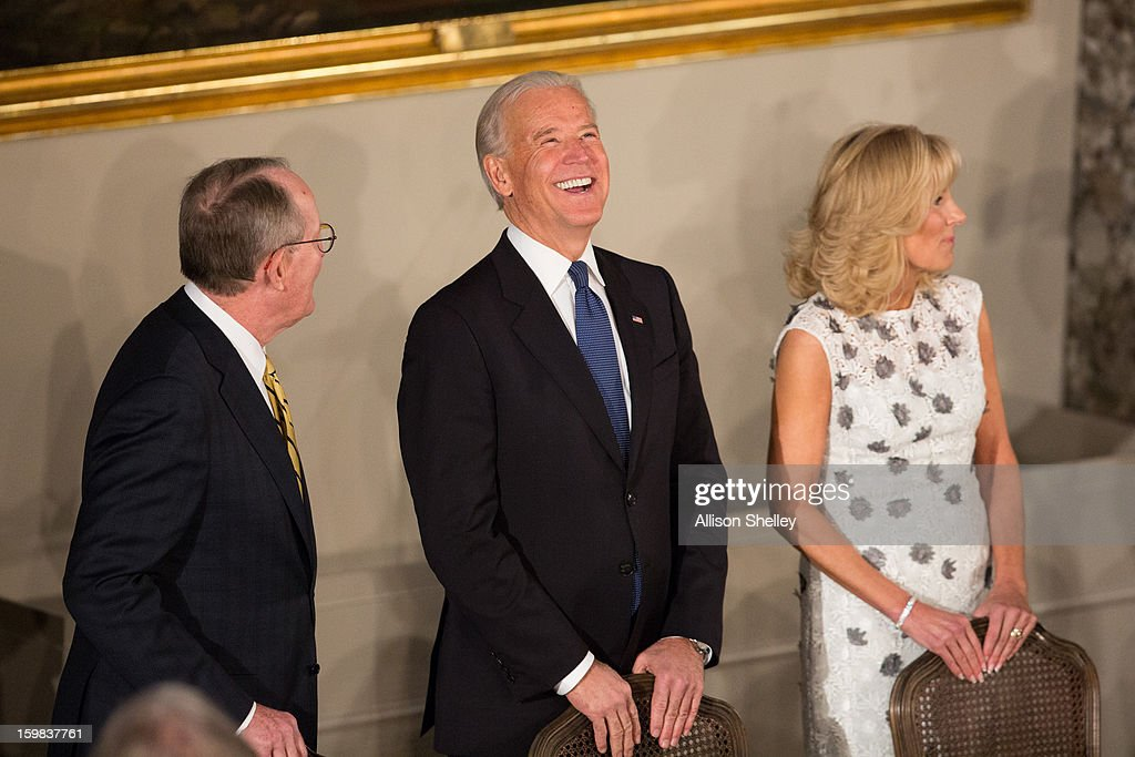 Senator Lamar Alexander jokes with Vice President Joe Biden and his wife Dr. Jill Biden at the Inaugural Luncheon in Statuary Hall on Inauguration day at the U.S. Capitol building January 21, 2013 in Washington D.C. President Barack Obama and Vice President Biden were ceremonially sworn in for their second term today.