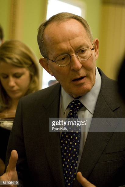 Senator Lamar Alexander speaks with reporters Tuesday afternoon following a GOP Caucus Luncheon