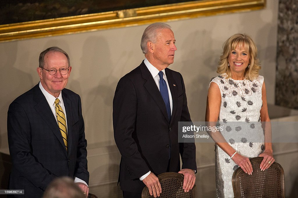Senator Lamar Alexander, Vice President Joe Biden and his wife Dr. Jill Biden attend the Inaugural Luncheon in Statuary Hall on Inauguration day at the U.S. Capitol building January 21, 2013 in Washington D.C. President Barack Obama and Vice President Biden were ceremonially sworn in for their second term today.