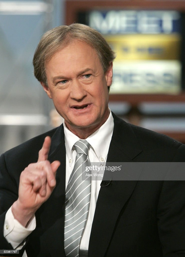 S Senator Lincoln Chafee gestures as he speaks on NBC's 'Meet the Press' during a taping at the NBC studios March 13 2005 in Washington DC Chafee...