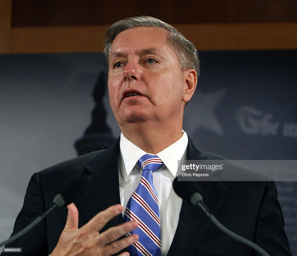 U.S. Senator Lindsey Graham (R-SC) speaks during a news briefing with Sen. John McCain June 25, 2009 on Capitol Hill in Washington, DC. McCain has proposed legislation to assist the people of Iran in promoting democracy. He said he would like to increase US-backed radio broadcasts into Iran.