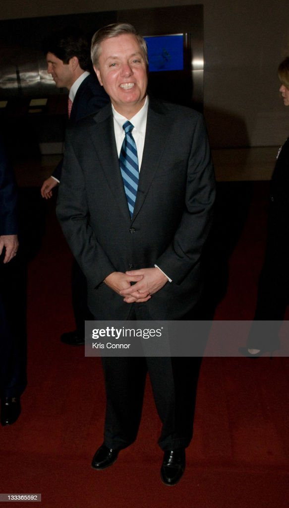 Senator Lindsey Graham (R-SC) walks the red carpet at Some Enchanted Evening: A Musical Birthday Senator Edward M. Kennedy at The Kennedy Center on March 8, 2009 in Washington, DC.