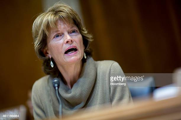 Senator Lisa Murkowski a Republican from Alaska and chairman of the Senate Energy and Natural Resources Committee speaks during a business meeting to...