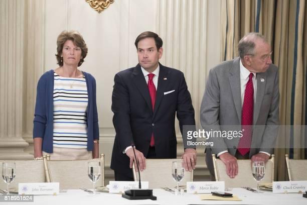 Senator Lisa Murkowski a Republican from Alaska from left Senator Marco Rubio a Republican from Florida and Senator Chuck Grassley a Republican from...