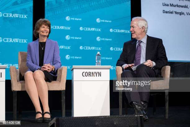 Senator Lisa Murkowski a Republican from Alaska left and Senator John Cornyn a Republican from Texas smile during the 2017 CERAWeek by IHS Markit...