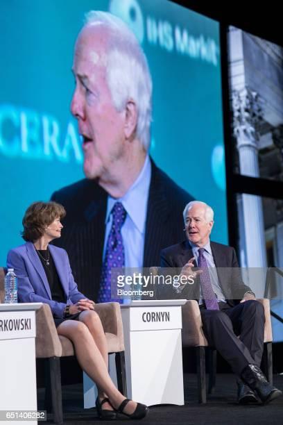 Senator Lisa Murkowski a Republican from Alaska left listens as Senator John Cornyn a Republican from Texas speaks during the 2017 CERAWeek by IHS...