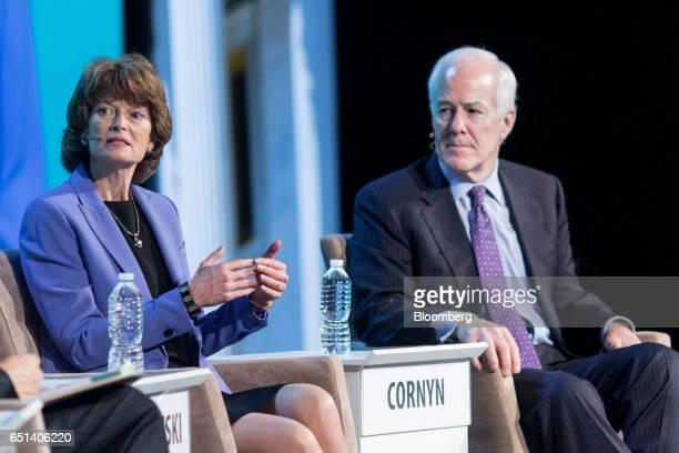 Senator Lisa Murkowski a Republican from Alaska left speaks as Senator John Cornyn a Republican from Texas listens during the 2017 CERAWeek by IHS...