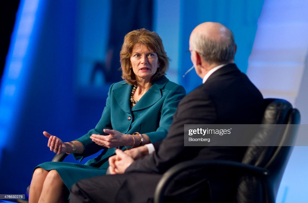 Senator Lisa Murkowski a Republican from Alaska left speaks with Scott Key president and chief executive officer of IHS Cambridge Energy Research...