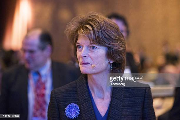 Senator Lisa Murkowski a Republican from Alaska speaks with attendees during the 2016 IHS CERAWeek conference in Houston Texas US on Friday Feb 26...