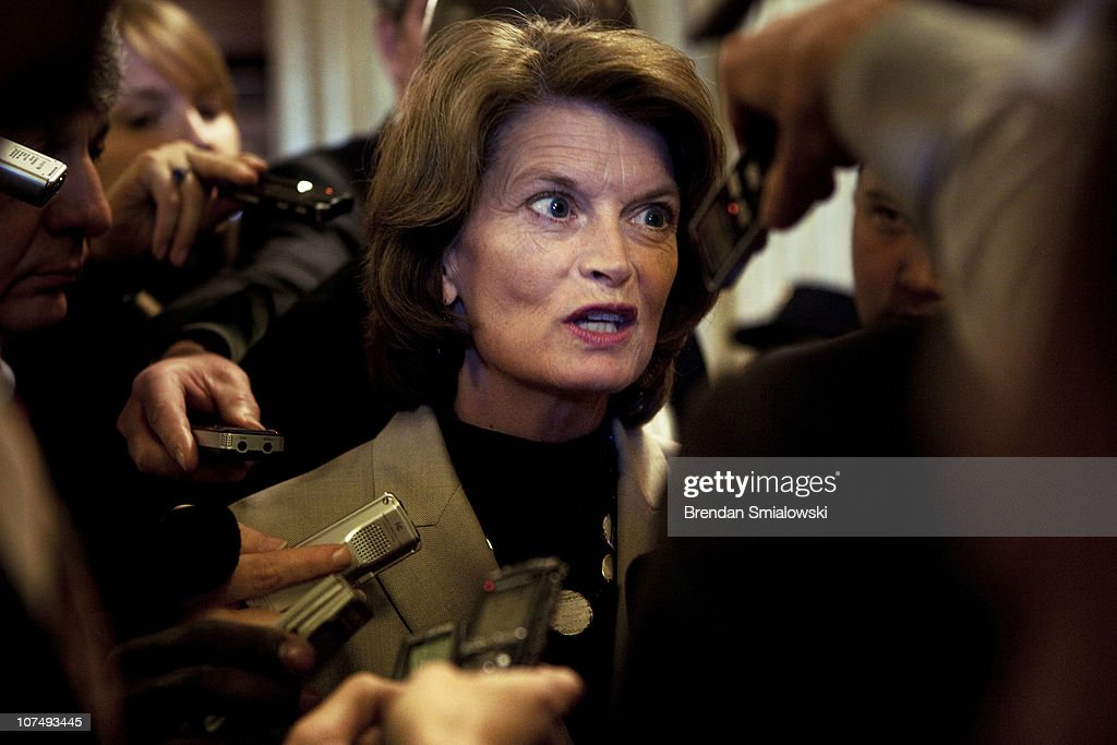 Senator <a gi-track='captionPersonalityLinkClicked' href=/galleries/search?phrase=Lisa+Murkowski&family=editorial&specificpeople=3134392 ng-click='$event.stopPropagation()'>Lisa Murkowski</a> (R-AK) speaks to reporters after voting on Capitol Hill December 9, 2010 in Washington, DC. The US Senate was not able to get a 60 vote super majority necessary to move along a defense authorization bill that included language to repeal the US military's 'Don't Ask Don't Tell' policy that prohibits gay service members from openly serving.