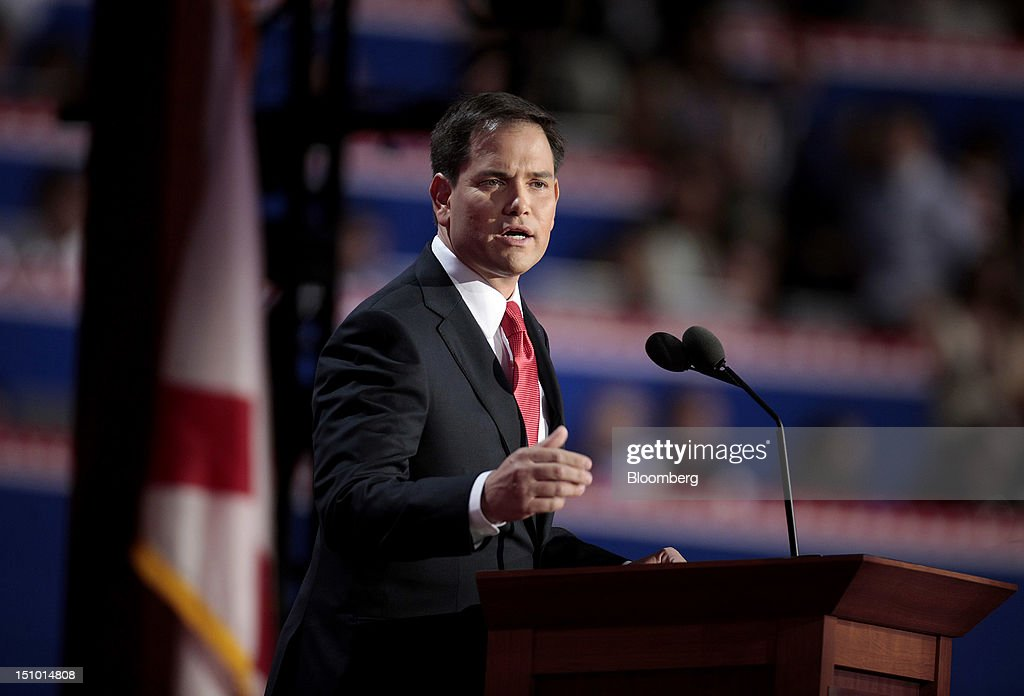 Senator <a gi-track='captionPersonalityLinkClicked' href=/galleries/search?phrase=Marco+Rubio+-+Politicus&family=editorial&specificpeople=11395287 ng-click='$event.stopPropagation()'>Marco Rubio</a>, a Republican from Florida, speaks at the Republican National Convention (RNC) in Tampa, Florida, U.S., on Thursday, Aug. 30, 2012. Republican presidential nominee Mitt Romney, a wealthy former business executive who served as Massachusetts governor and as a bishop in the Mormon church, is under pressure to show undecided voters more personality and emotion in his convention speech tonight, even as fiscal conservatives in his own party say he must more clearly define his plans for reining in the deficit and improving the economy. Photographer: Andrew Harrer/Bloomberg via Getty Images
