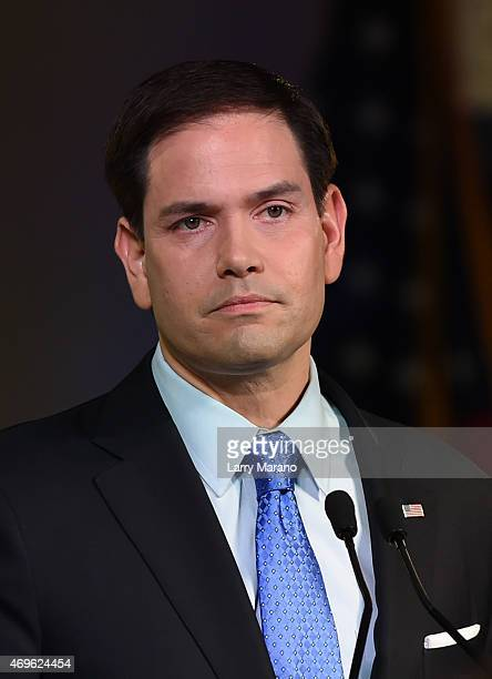 S Senator Marco Rubio announces his candidacy for the Republican presidential nomination at The Freedom Tower on April 13 2015 in Miami Florida