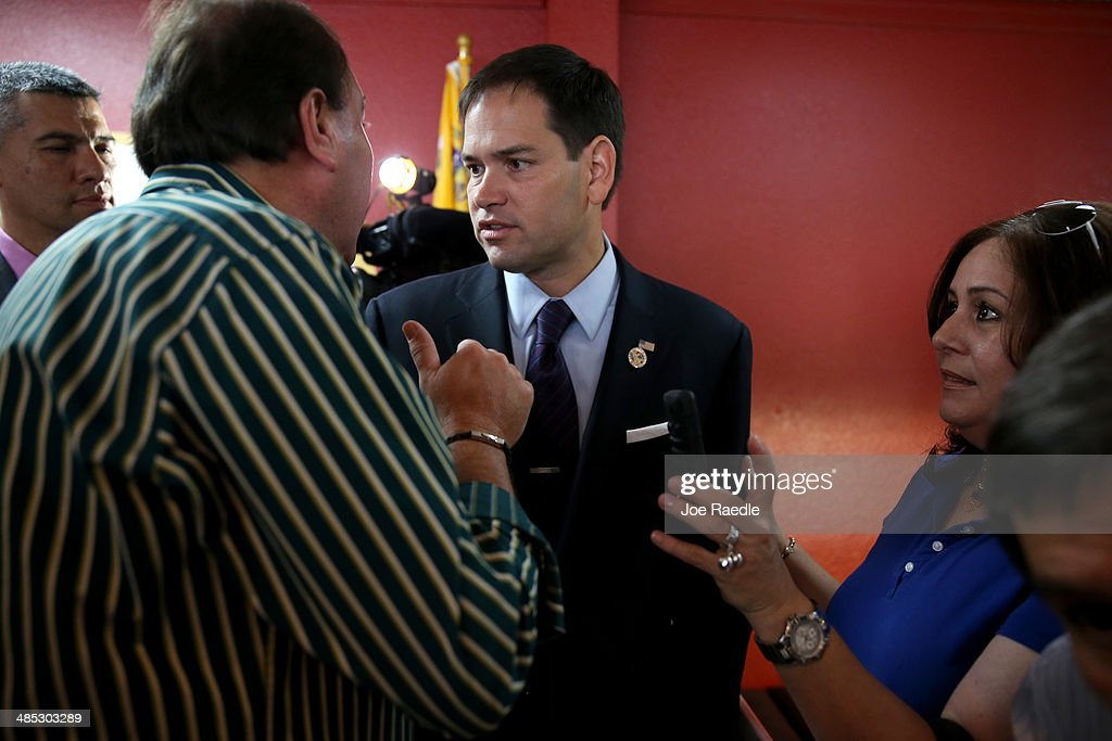U.S. Senator Marco Rubio (R-FL) interacts with people at an event to show support for the Venezuelan community at the El Arepazo 2 Restaurant on April 17, 2014 in Doral, Florida. Rubio and Senator Bill Nelson (D-FL) spoke about the need for the United States to support the opposition in Venezuela against Venezuelan President Nicolas Maduro.