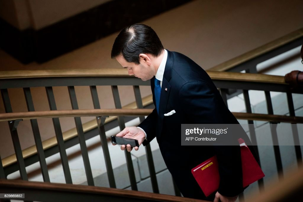 Senator Marco Rubio (R-FL) leaves after attending a closed meeting of the Senate Foreign Relations Committee on Capitol Hill August 2, 2017 in Washington, DC. / AFP PHOTO / Brendan Smialowski