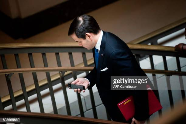 Senator Marco Rubio leaves after attending a closed meeting of the Senate Foreign Relations Committee on Capitol Hill August 2 2017 in Washington DC...