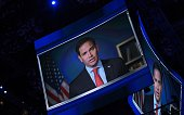 US Senator Marco Rubio of Florida addresses the third evening session of the Republican National Convention via video at Quicken Loans Arena in...