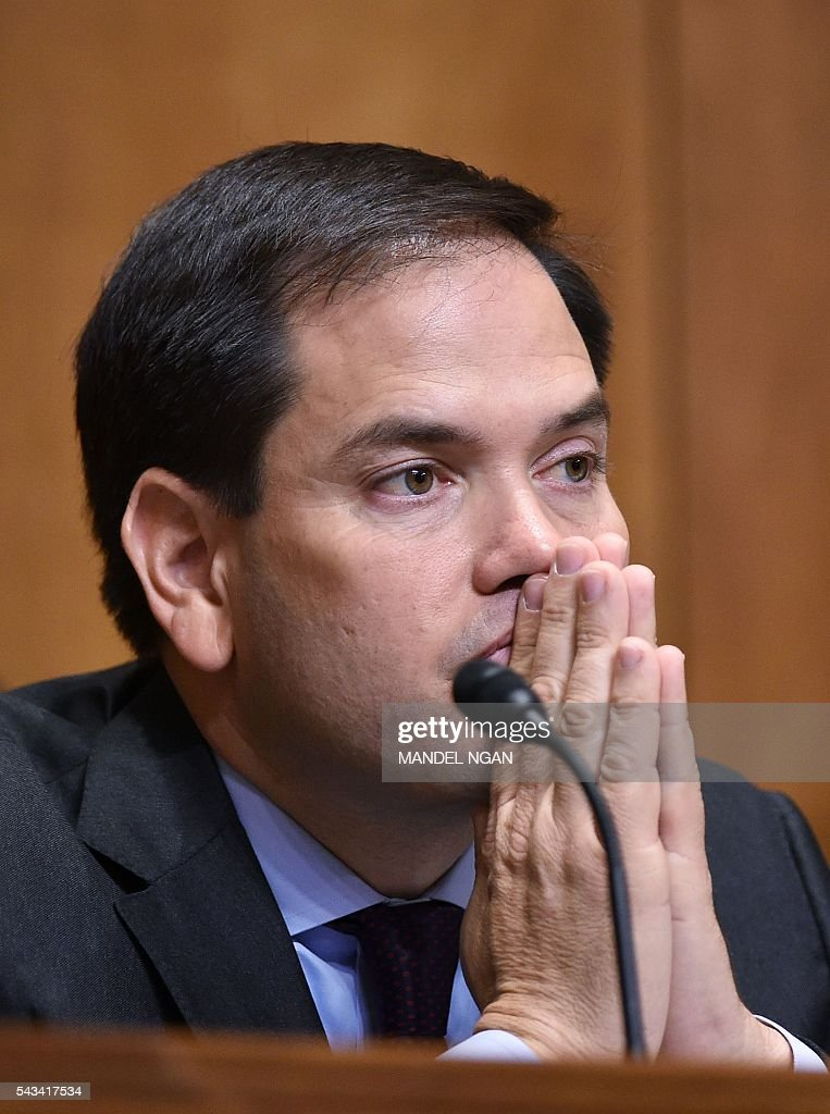 Senator Marco Rubio, R-FL, attends a Senate Foreign Relations Committee hearing on global efforts to defeat ISIS on Capitol Hill in Washington, DC on June 28, 2016. / AFP / Mandel NGAN