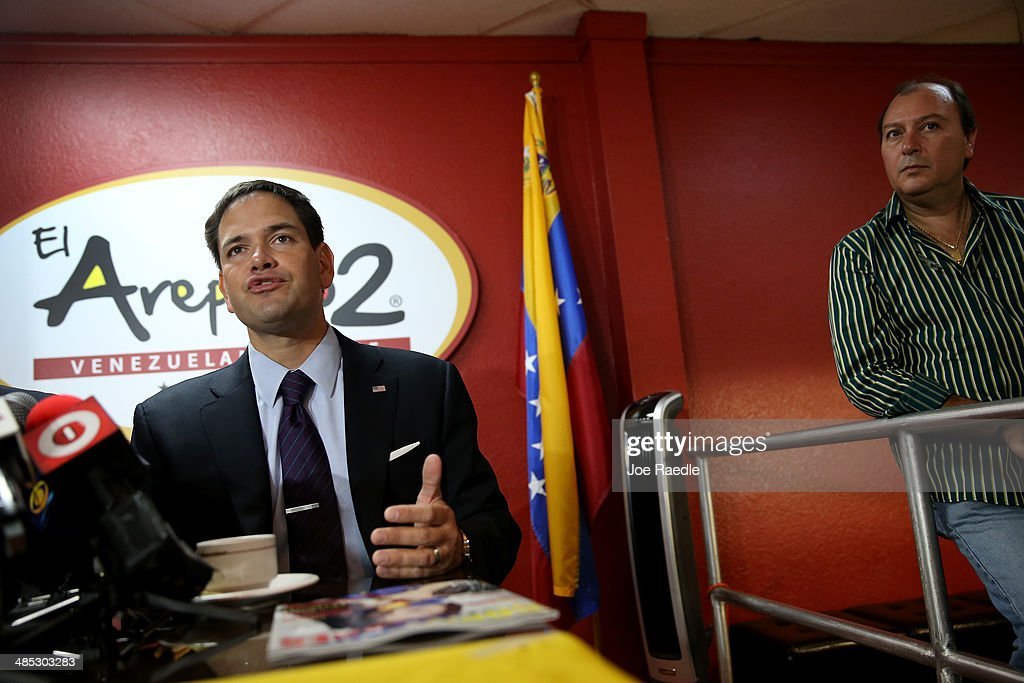 U.S. Senator Marco Rubio (R-FL) speaks during a press conference to show support for the Venezuelan community at the El Arepazo 2 Restaurant on April 17, 2014 in Doral, Florida. Rubio and Senator Bill Nelson (D-FL) spoke about the need for the United States to support the opposition in Venezuela against Venezuelan President Nicolas Maduro.