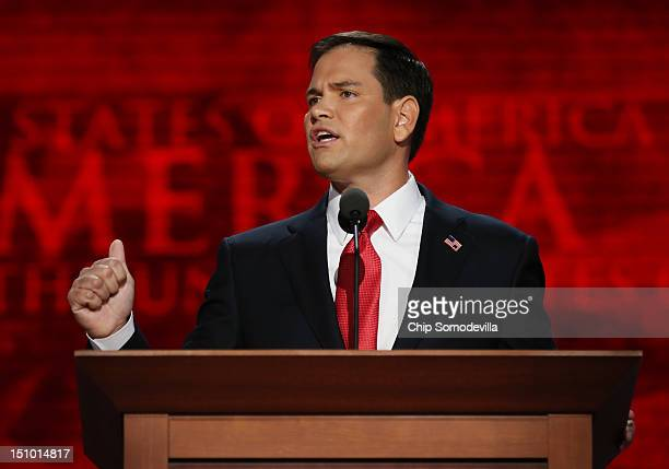 S Senator Marco Rubio speaks during the final day of the Republican National Convention at the Tampa Bay Times Forum on August 30 2012 in Tampa...