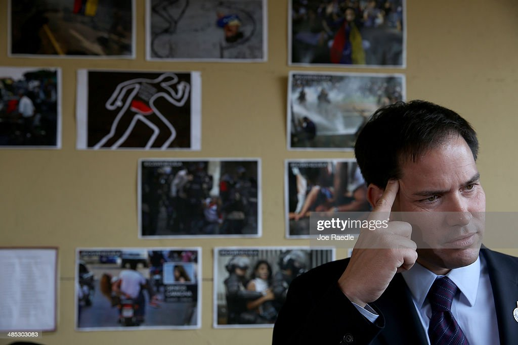 U.S. Senator Marco Rubio (R-FL) speaks to the media in front of a wall dedicated to the victims of the violence in Venezuela as he shows support for the Venezuelan community at the El Arepazo 2 Restaurant on April 17, 2014 in Doral, Florida. Rubio and Senator Bill Nelson (D-FL) spoke about the need for the United States to support the opposition in Venezuela against Venezuelan President Nicolas Maduro.