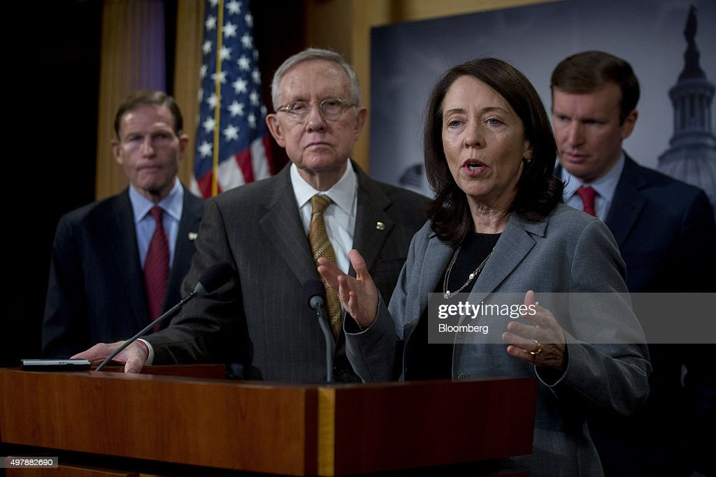 Senator <a gi-track='captionPersonalityLinkClicked' href=/galleries/search?phrase=Maria+Cantwell&family=editorial&specificpeople=552125 ng-click='$event.stopPropagation()'>Maria Cantwell</a>, a Democrat from Washington, second right, speaks during a news conference with Senator <a gi-track='captionPersonalityLinkClicked' href=/galleries/search?phrase=Richard+Blumenthal&family=editorial&specificpeople=1036916 ng-click='$event.stopPropagation()'>Richard Blumenthal</a>, a Democrat from Connecticut, from left, Senate Minority Leader <a gi-track='captionPersonalityLinkClicked' href=/galleries/search?phrase=Harry+Reid+-+Politico&family=editorial&specificpeople=203136 ng-click='$event.stopPropagation()'>Harry Reid</a>, a Democrat from Nevada, Cantwell, and Senator <a gi-track='captionPersonalityLinkClicked' href=/galleries/search?phrase=Chris+Murphy+-+Politico&family=editorial&specificpeople=12884903 ng-click='$event.stopPropagation()'>Chris Murphy</a>, a Democrat from Connecticut, at the U.S. Capitol in Washington, D.C., U.S., on Thursday, Nov. 19, 2015. Senate Democrats announced a new push to ensure that Islamic State terrorists are not able to slip into the United States through the Visa Waiver Program. Photographer: Andrew Harrer/Bloomberg via Getty Images