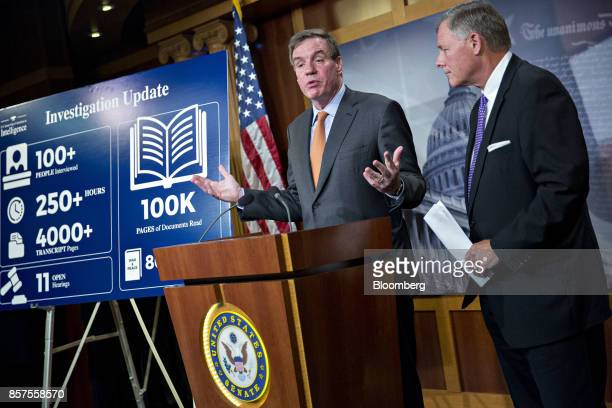 Senator Mark Warner a Democrat from Virginia and ranking member of the Senate Intelligence Committee speaks as chairman Senator Richard Burr a...