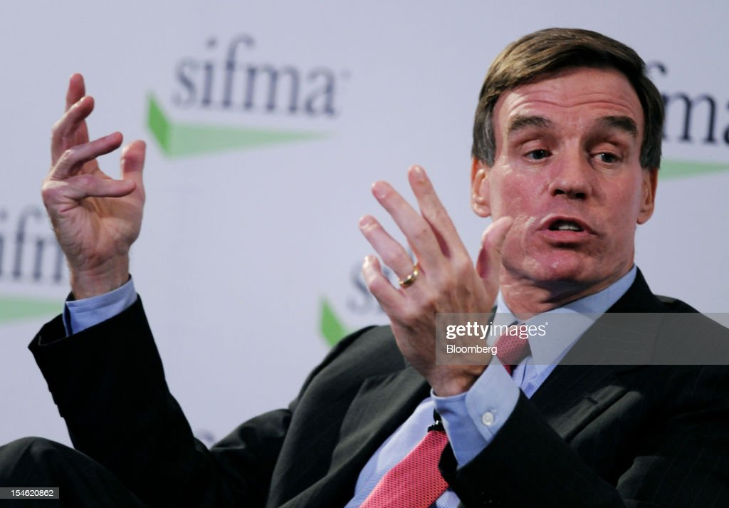 Senator <a gi-track='captionPersonalityLinkClicked' href=/galleries/search?phrase=Mark+Warner&family=editorial&specificpeople=2251151 ng-click='$event.stopPropagation()'>Mark Warner</a>, a Democrat from Virginia, speaks at the Securities Industry and Financial Markets Association (SIFMA) annual meeting in New York, U.S., on Tuesday, Oct. 23, 2012. Timothy Ryan, chief executive officer of SIFMA, said the so-called Volcker rule has the 'most complexity risk' among the new Dodd-Frank financial regulations. Photographer: Peter Foley/Bloomberg via Getty Images