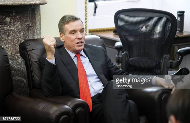 Senator Mark Warner a Democrat from Virginia speaks during a meeting on tax reform and election results at the US Capitol in Washington DC US on...