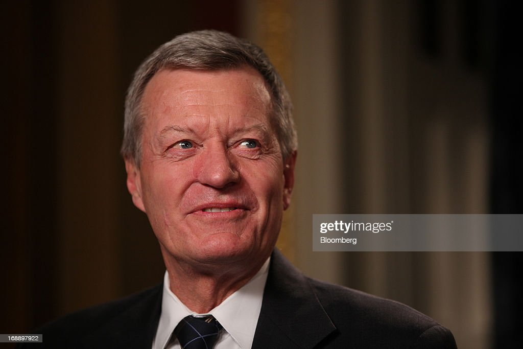 Senator <a gi-track='captionPersonalityLinkClicked' href=/galleries/search?phrase=Max+Baucus&family=editorial&specificpeople=242972 ng-click='$event.stopPropagation()'>Max Baucus</a>, a Democrat from Montana and chairman of the Senate Finance Committee, speaks before a Bloomberg Television interview in Washington, D.C., U.S., on Thursday, May 16, 2013. Baucus and Representative Dave Camp, a Republican from Michigan and chairman of the House Ways and Means Committee, discussed the scandal at the Internal Revenue Service and its impact on possible revision of tax policy. Photographer: Julia Schmalz/Bloomberg via Getty Images